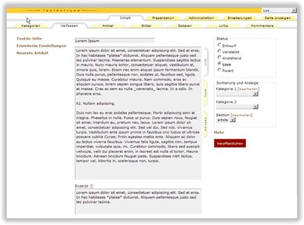 Administration einer Website mit Textpattern