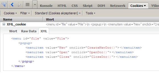 Firecookie:XML-Inspektor